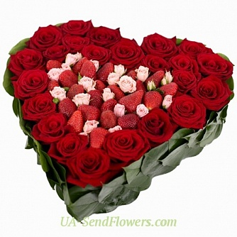 Buy Composition of flowers Heart of love cheap with delivery to Kiev and Ukraine