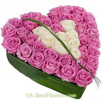 Buy Composition of flowers from the heart cheap with delivery to Kiev and Ukraine