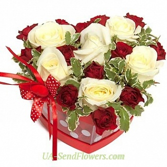 Buy Flowers in a box Love charms cheap with delivery to Kiev and Ukraine