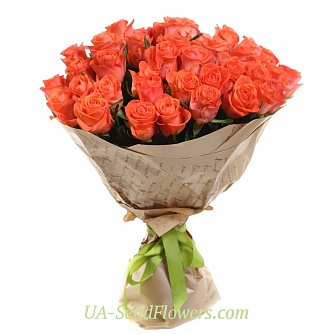 Buy Bouquet of 35 roses of coral cheap with delivery to Kiev and Ukraine