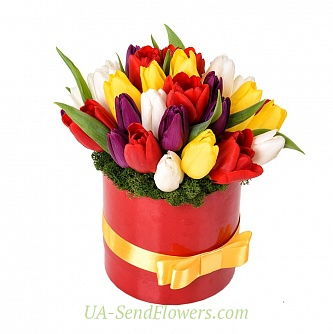 Buy Flowers in a box Riot of colors cheap with delivery to Kiev and Ukraine