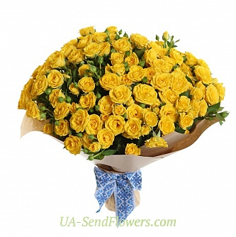 Buy Bouquet of 35 yellow roses and roses cheap with delivery to Kiev and Ukraine