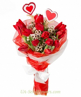 Buy Bouquet tulip Cupid cheap with delivery to Kiev and Ukraine