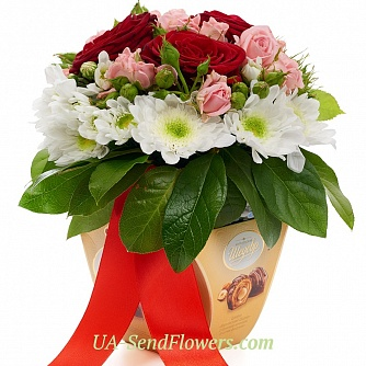 Buy Flowers in a box flower charm cheap with delivery to Kiev and Ukraine