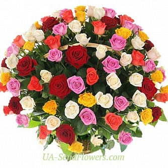 Buy Basket of flowers 101 multicolored rose cheap with delivery to Kiev and Ukraine
