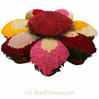 Buy Composition of Flowers love roses cheap with delivery to Kiev and Ukraine