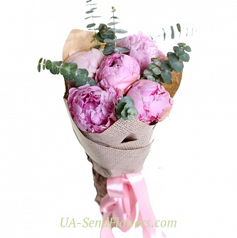 Buy Bouquet of Pink peonies cheap with delivery to Kiev and Ukraine