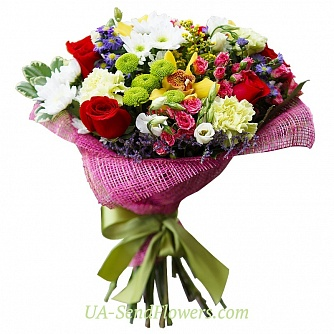 Buy Bouquet Riot of colors cheap with delivery to Kiev and Ukraine
