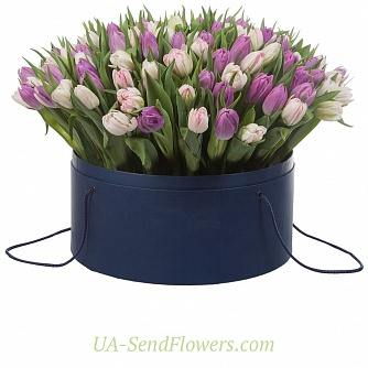 Buy Flowers in a box Aurora cheap with delivery to Kiev and Ukraine
