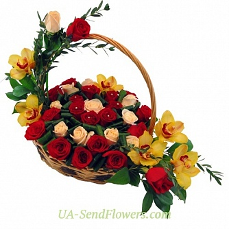 Buy Basket of flowers Carmen cheap with delivery to Kiev and Ukraine