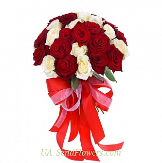 Buy Bouquet of 35 red and white roses cheap with delivery to Kiev and Ukraine
