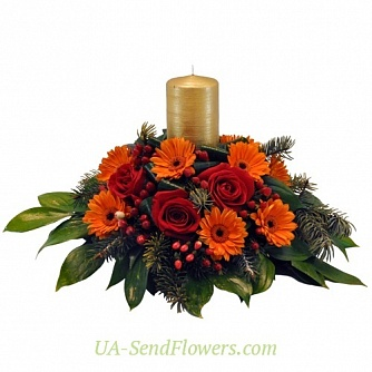 Buy Christmas arrangement winter comfort cheap with delivery to Kiev and Ukraine