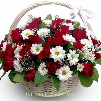 Buy Basket of flowers Beauty cheap with delivery to Kiev and Ukraine