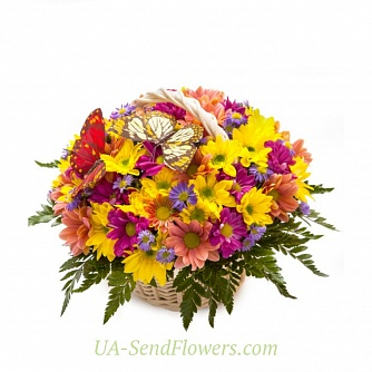 Buy Basket of flowers variety of colors cheap with delivery to Kiev and Ukraine