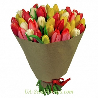 Buy Bouquet of 51 tulip cheap with delivery to Kiev and Ukraine