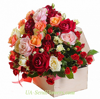 Buy Flowers in a box flower garden cheap with delivery to Kiev and Ukraine