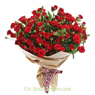 Buy Bouquet of 35 red roses and roses cheap with delivery to Kiev and Ukraine