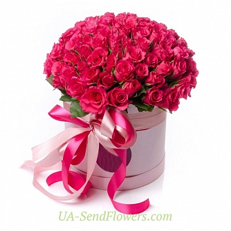 Buy Flowers in box 101 pink rose cheap with delivery to Kiev and Ukraine