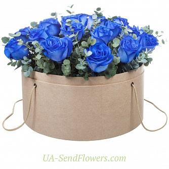 Buy Flowers in a box Ultramarine cheap with delivery to Kiev and Ukraine