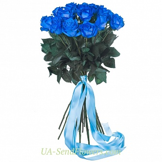 Buy Bouquet of 25 blue roses cheap with delivery to Kiev and Ukraine