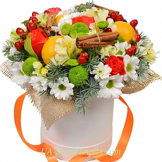 Buy Flowers in a box Ledi Mai cheap with delivery to Kiev and Ukraine