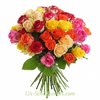 Buy Bouquet of 35 multicolored roses cheap with delivery to Kiev and Ukraine