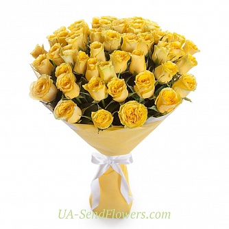 Buy Bouquet of 51 yellow roses cheap with delivery to Kiev and Ukraine