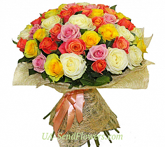 Buy Bouquet of 51 multicolored roses cheap with delivery to Kiev and Ukraine