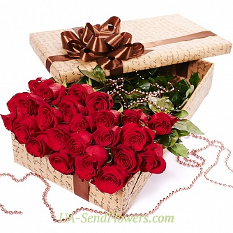 Buy Flowers in a box Red roses cheap with delivery to Kiev and Ukraine