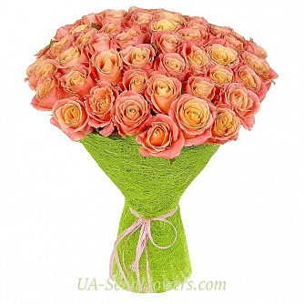 Buy Bouquet of 51 coral roses cheap with delivery to Kiev and Ukraine
