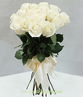 Buy Bouquet of 15 white roses cheap with delivery to Kiev and Ukraine