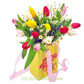 Buy Flowers smell of spring in the package cheap with delivery to Kiev and Ukraine