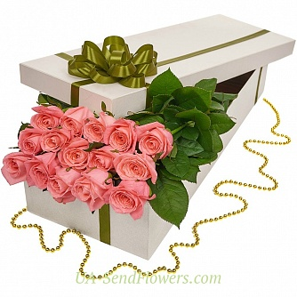 Buy Flowers in a box of 15 red roses cheap with delivery to Kiev and Ukraine