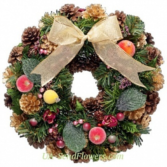 Buy Christmas wreath Happiness in the house cheap with delivery to Kiev and Ukraine