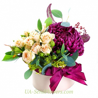 Buy Flowers in box Shades symbiosis cheap with delivery to Kiev and Ukraine