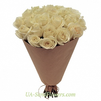 Buy Bouquet of 25 white roses cheap with delivery to Kiev and Ukraine