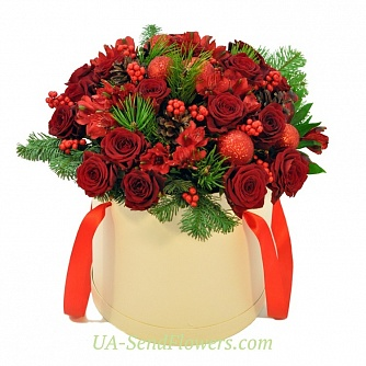 Buy Flowers in a box Mulled wine cheap with delivery to Kiev and Ukraine