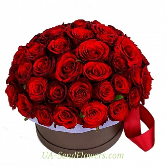 Buy Flowers in a box A passionate kiss cheap with delivery to Kiev and Ukraine