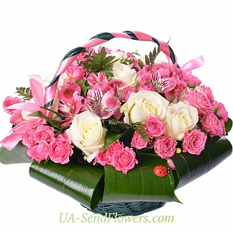 Buy Basket of flowers Goddess of beauty cheap with delivery to Kiev and Ukraine