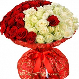 Buy Bouquet of Romeo and Juliet colors cheap with delivery to Kiev and Ukraine