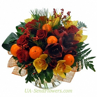 Buy Christmas bouquet Mandarin cheap with delivery to Kiev and Ukraine