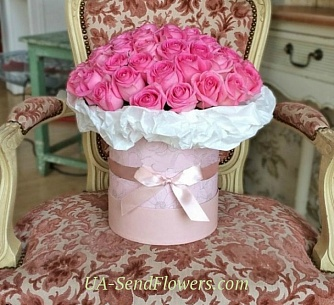 Buy Flowers in box 51 pink rose cheap with delivery to Kiev and Ukraine