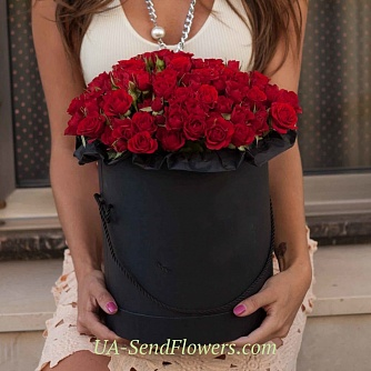 Buy Flowers in a box Mirabell cheap with delivery to Kiev and Ukraine