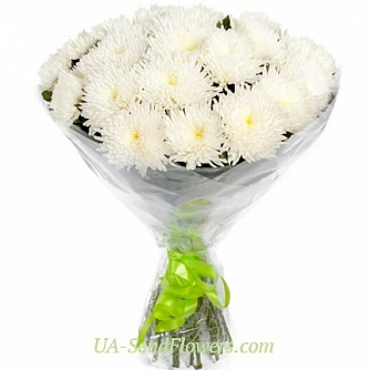 Buy Bouquet of 15 white chrysanthemums cheap with delivery to Kiev and Ukraine