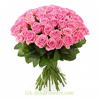 Buy Bouquet of 51 pink roses cheap with delivery to Kiev and Ukraine