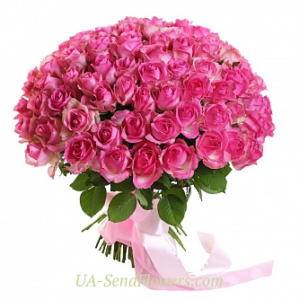 Buy Bouquet of 101 pink roses cheap with delivery to Kiev and Ukraine