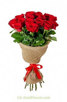 Buy Bouquet of 15 red roses cheap with delivery to Kiev and Ukraine