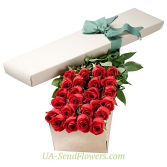Buy 25 red roses in a box cheap with delivery to Kiev and Ukraine