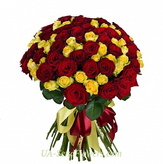 Buy Bouquet 101 crane-yellow roses cheap with delivery to Kiev and Ukraine
