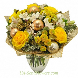 Buy Christmas bouquet Golden Ball cheap with delivery to Kiev and Ukraine